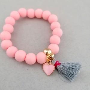 rožinė apyrankė mergaitei su sirdele ir kutosiuku